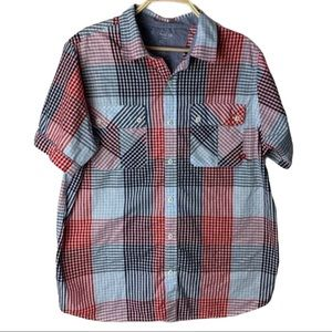 Rocawear Red/Blue Striped Button Down
